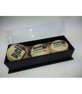 Composez votre boite de 3 Macarons personnalisés / Boite Black 3 macarons