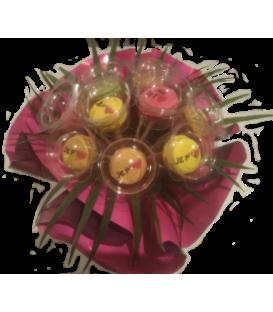 Bouquet de macarons personnalisés 9 tiges